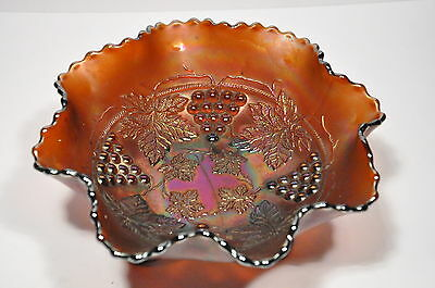 One Vintage Carnival Glass 3 Footed Dish With Grapevine Design
