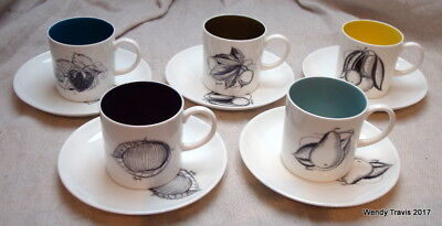 5  Vintage Susie Cooper Black Fruit Bone China Coffee Cans And Saucers C893/8