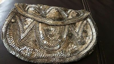 Vintage 1940's/1950's Silvery/Gold Sequin & Beaded Evening Clutch Purse
