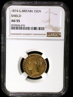 Great Britain 1874 Shield Gold Sovereign *NGC AU-55* Very RARE Low Mintage