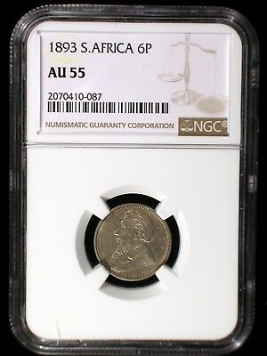 South Africa ZAR 1893 6 Pence *NGC AU-55* Very Scarce Low Mintage Key Date