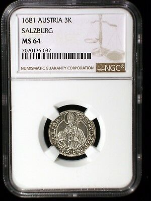 Austria Bishopric of Salzburg 1681 3 Kreuzers *NGC MS-64* Sharp Bright Lustrous