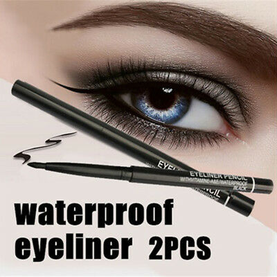 2 Pcs Waterproof Retractable Rotary Eyeliner Pencil Makeup Cosmetic Tool Hot
