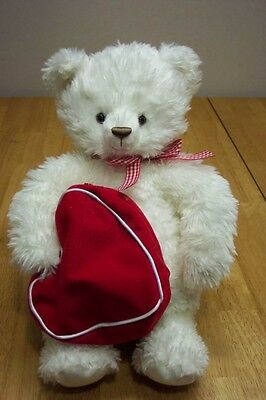 Hallmark WHITE TEDDY BEAR W/ HEART BAG Stuffed Animal