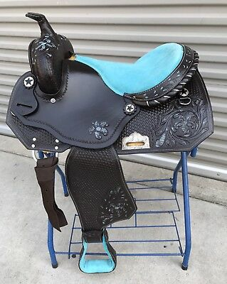"""16"""" Dark Oiled Barrel/Pleasure Trail Western Saddle With Turquoise Paint Inlay"""