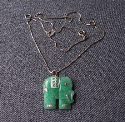 Vintage Rhinestone Green Jade Elephant Pendant Chain Strap 925 Sterling Necklace