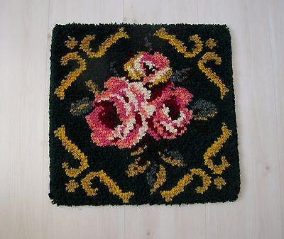 Vintage Small European Modernist Hand Knotted Flowers Rug