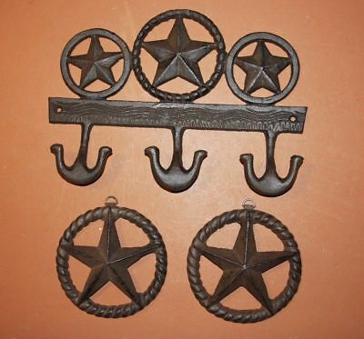 (3) Vintage-look Lone Star Wall Decor Collection, Cast Iron Rustic Lone Star