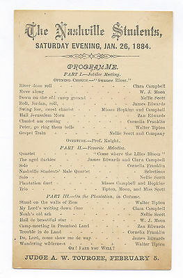 1884 Program African American Jubilee Troupe Nashville Students On Ad Card Back