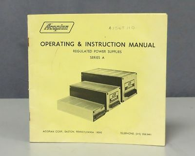 Acopian Regulated Power Supplies Series A Operating & Instruction Manual