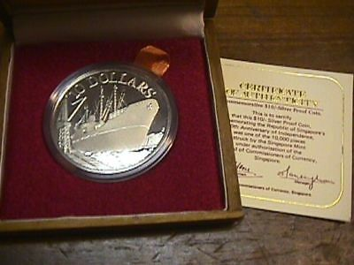 Singapore 1975 10 Dollar Silver Proof Coin WITH BOX AND COA PAPER. KM#11