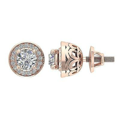 Halo Solitaire Stud Earring 1.30C Natural Diamond 14Kt Solid Rose Gold Appraisal