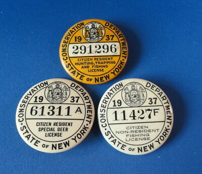 (3) Old 1937 New York Button Licenses - Conservation Dept. - Hunting/Fishing Etc