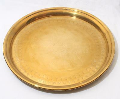 """Antique Vintage Large Circular Solid Brass Tray with Etched Design 16"""" Diameter"""