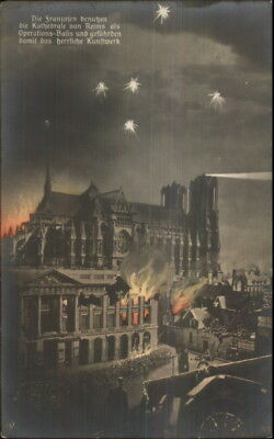 Germany Reims Burning Buildings WWI Destructions c1915 Real Photo Postcard