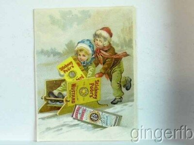 Victorian Chromo Lithograph Trade Card Stickney & Poors Mustard Spice