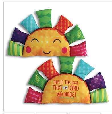 """Sun Pillow NWT Singing """"This is the Day the Lord has made"""" Christian Gift 18 in."""