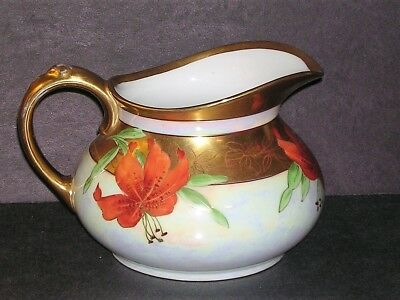 Limoges France Hand Painted Pickard China Pitcher Artist Signed Red Lillies Gold