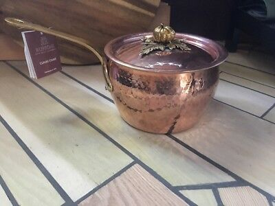 Ruffoni Tin Lined 2 Quart Hand-Hammered Copper Sauce Pan with Lid