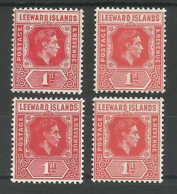 LEEWARD IS SG98,99,99b&99c THE 4 GVI LISTED SHADES OF 1d RED CAT £24