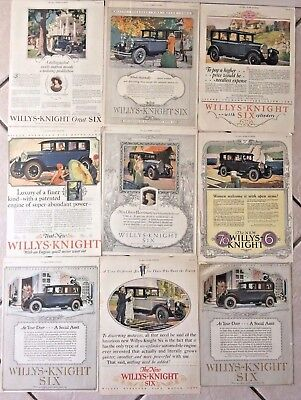 9 Original Vtg. Antique Willys-Knight Magazine Advertisements Not Reproductions