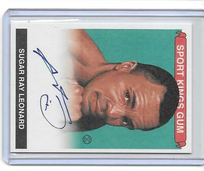 Sugar Ray Leonard 2017 Leaf Sports Heroes Metal Auto Spp Sport Kings Gum Green