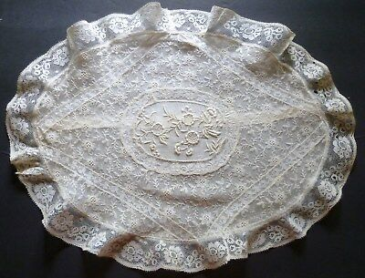 Antique FRENCH NORMANDY LACE Boudoir PILLOW COVER