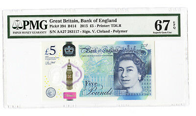 2015 5Pd Great Britain Bank Of England Pmg 67 Epq #394 Banknote Superb Prefix Aa
