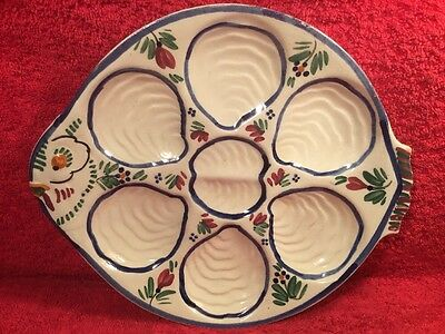 HB Quimper Early Fish Design Oyster Plate, op421  GREAT GIFT IDEA!!