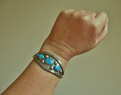 Vintage Navajo Turquoise Shadow Box Cuff Bracelet, Stretch