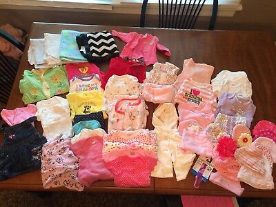 Huge Lot Of Newborn Nb Baby Girl Clothes/hats/pajamas/ & More!!