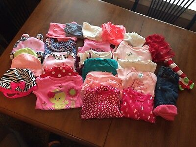 Very Nice Lot Of 3-6 Month Old Baby Girl Clothes Carters Old Navy & More!!