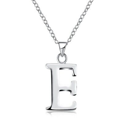 "Women's Silver Plated Pendant Fashion Letter E Necklace 18"" Link New Style"