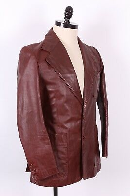 Vtg 70S Saxony Leather Blazer Coat Jacket Mens Size 40