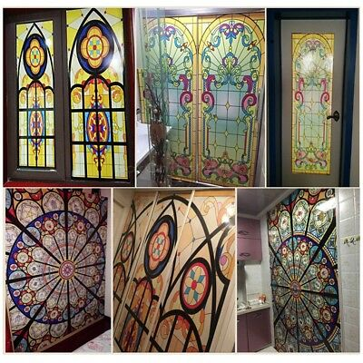 Vintage Peacock Stained Window Films Glass Adhesive Static Privacy Cling Cover