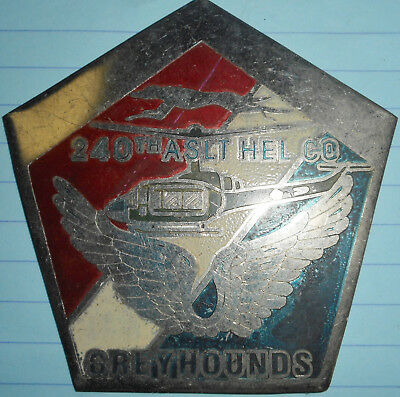 RARE - HELICOPTER - US AHC EMBLEM - STEEL - 240th GREYHOUNDS - Vietnam War - 232