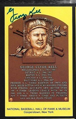 George Kell Detroit Tigers Hof Yellow Plaque Autograph Signed