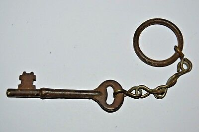 Vintage Antique Aged Metal Skeleton Key On Key Chain Great for Necklaces Rare