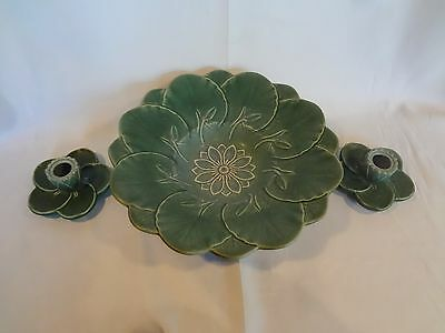 Weller Art Pottery - Pumila - Blue Green Lily Pad Console Bowl + 2 Candlesticks