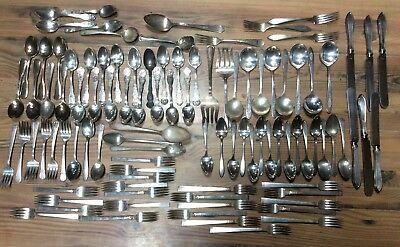 100 piece Mixed Lot of Silverplate Flatware Arts and Crafts Altered Art