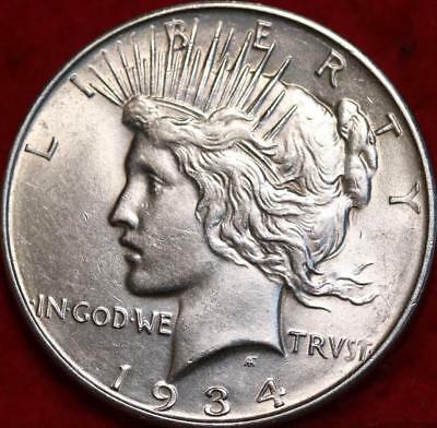 Uncirculated 1934-D Denver Mint Silver Peace Dollar Free S/H