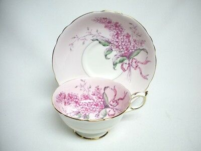 PARAGON Fine China Cup & Saucer Pink LILAC Flower Gold Trim Mint England Vintage
