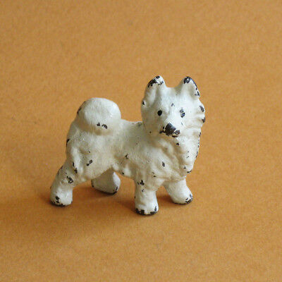 Dog Figurine Samoyed Painted Metal