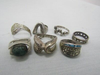 Lot of 7 Vintage Sterling Silver Rings 44.4 Grams