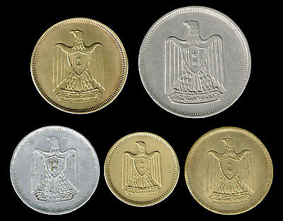 EGYPT, UNITED ARAB Republic :- 5 different circulation coins. AP6228