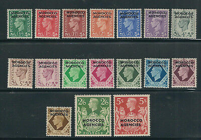 MOROCCO AGENCIES 1949 KGVI complete set (Scott 246-62) VF MH (top 2 vals are NH)