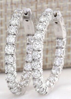 3.50Ctw Natural Diamond Hoop Earrings 14K Solid White Gold