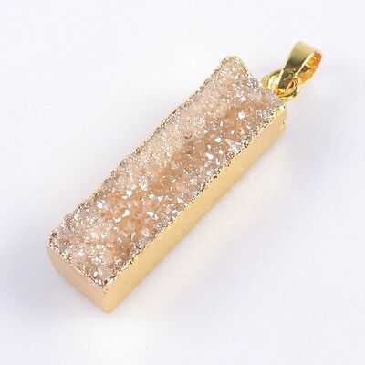 Rectangle Natural Agate Titanium Druzy Pendant Bead Gold Plated B039217