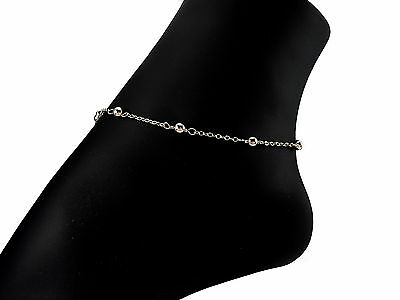 *CKstella*   .925 Sterling Silver Ball Linked Chain Ankle Bracelet Anklet