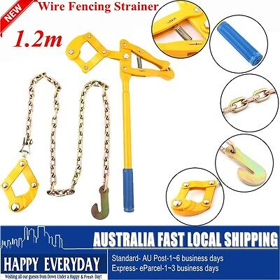 Wire Fence Strainer Fencing Ratchet Chain Tool Plain Barbed Repair Tensioner AU